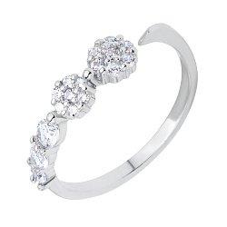 Серебряное разомкнутое кольцо с цирконием 000116361