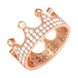 Серебряное кольцо-корона с фианитами и позолотой 000042844