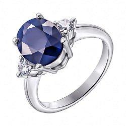 Серебряное кольцо с сапфиром и фианитами 000125021