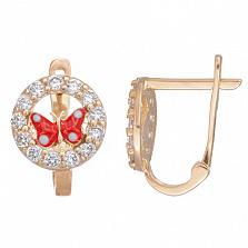 Золотые серьги с цирконием и красной эмалью Мотылек