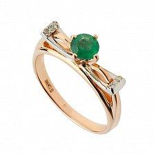 Золотое кольцо с изумрудом и бриллиантами Корнелия