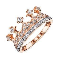 Кольцо-корона из красного золота с фианитами 000119587