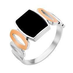 Серебряный перстень с черным ониксом и золотыми накладками 000116165