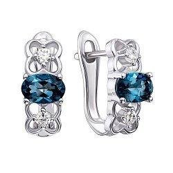 Серебряные серьги с лондон топазами и фианитами 000132123