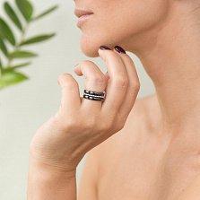 Тройное кольцо Лада из черной керамики и серебра с фианитами