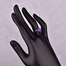 Серебряное кольцо Вечернее небо с аметистом