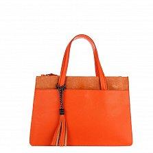 Кожаная деловая сумка Genuine Leather 8914 оранжевого цвета на молнии, с декоративной кистью