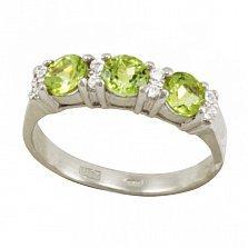 Серебряное кольцо Фаина с хризолитами и фианитами