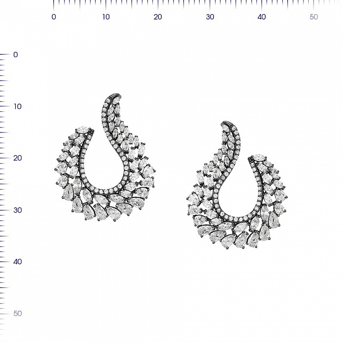 Серебряные серьги-пуссеты Лурдес с фианитами 000081906