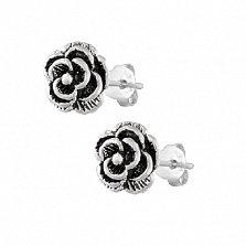 Серьги-пуссеты из серебра Роза Альба