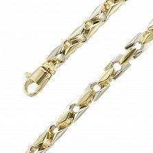 Фантазийный браслет Рашмор в желтом и белом золоте с крупным геометрическим плетением, 5мм