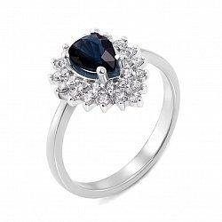 Кольцо из белого золота с сапфиром и бриллиантами 000135363