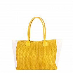 Кожаная сумка на каждый день Genuine Leather 8006 желтого цвета с белыми вставками на молнии