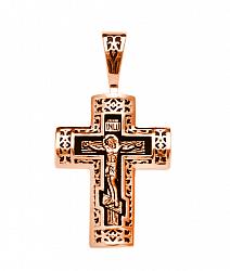 Православный крестик из красного золота с чернением 000125384
