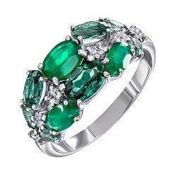 Серебряное кольцо с зелеными агатом, кварцем и прозрачным цирконием 000061459