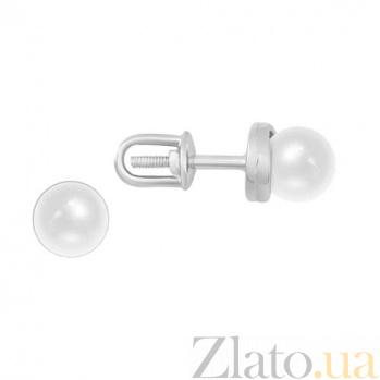 Серьги-гвоздики из белого золота Нежность SVA--2190732102/Жемчуг