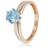 Золотое кольцо Делия с голубым топазом