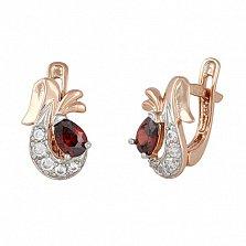 Позолоченные серебряные серьги с красным цирконием Берфане