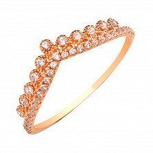 Кольцо Корона принцессы в красном золоте с фианитами