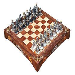 Дизайнерские серебряные шахматы Евреи и украинцы с яшмой, белым ониксом и позолотой 000004362