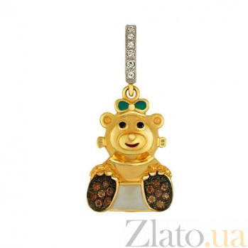 Детский кулон Мишутка из желтого золота с кристаллами циркония VLT--Т340-7