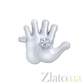 Серебряная серьга-пуссета Ладошка AUR--82007б/0,5