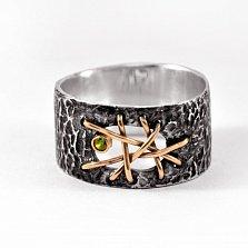 Кольцо из серебра Blindness с золотыми вставками, зеленым цирконием и чернением