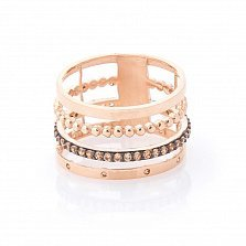 Золотое кольцо Тореа с фантазийной шинкой и цирконием