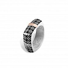 Серебряное кольцо Оксана с золотыми накладками, черной эмалью и фианитами