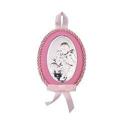 Посеребренная икона Ангел Хранитель с розовой синтетической кожей и текстилем 000131789