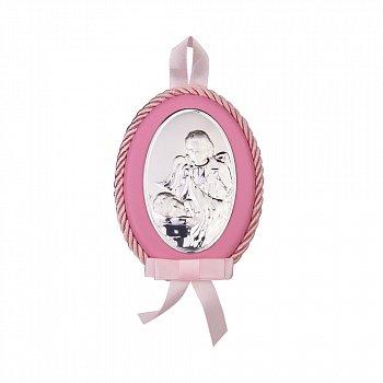 Посріблена ікона Ангел Хранитель із рожевою синтетичною шкірою та текстилем 000131789