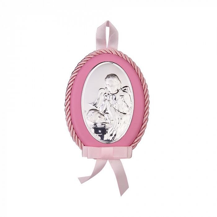 Посеребренная икона Ангел Хранитель с розовой синтетической кожей и текстилем 000131789 000131789