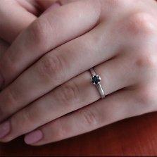 Золотое кольцо Астра в белом цвете с сапфиром
