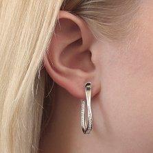 Серебряные серьги Лира с дорожками белых фианитов