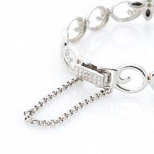 Серебряный браслет Кэролайн с черными и белыми фианитами