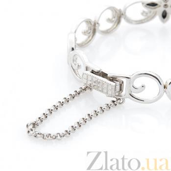 Серебряный браслет Кэролайн с черными и белыми фианитами 000080282