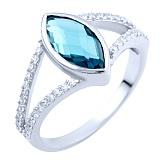 Серебряное кольцо Нателла с синтезированным топазом лондон и фианитами