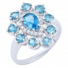 Серебряное кольцо Светлана с топазом лондон и фианитами