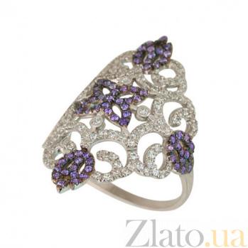 Золотое кольцо Кружево с белыми и синими фианитами VLT--ТТТ1175