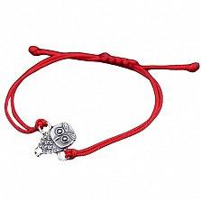 Шелковый браслет Совушка с серебряной вставкой