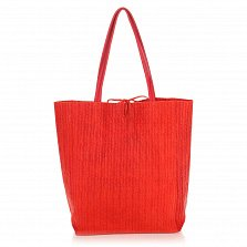 Кожаная сумка на каждый день Genuine Leather 8041 кораллового цвета на завязках
