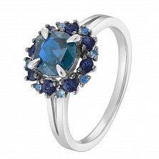 Золотое кольцо Мальва с лондон топазом и сапфирами