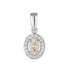 Золотой родированный кулон Каринти в белом цвете с бриллиантами