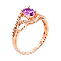 Кольцо из красного золота с аметистом и фианитами 000135217
