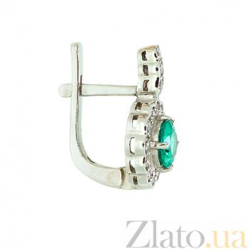 Золотые серьги с бриллиантами и изумрудами Пирра ZMX--EE-6289\1w_K