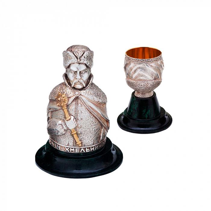 Набор бронзовых интерьерных рюмок Гетманы с серебрением и позолотой на мраморных подставках (3 шт) 000051952