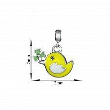 Детская серебряная подвеска Птичка с желтой эмалью, 7х12мм