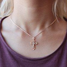 Золотой крест Изысканность с бриллиантами