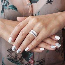 Тройное подвижное кольцо-антистресс Лика из белой керамики и серебра с фианитами