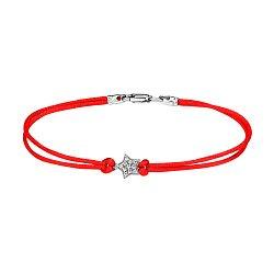 Браслет из красной шелковой нити и серебра с фианитами 000140037